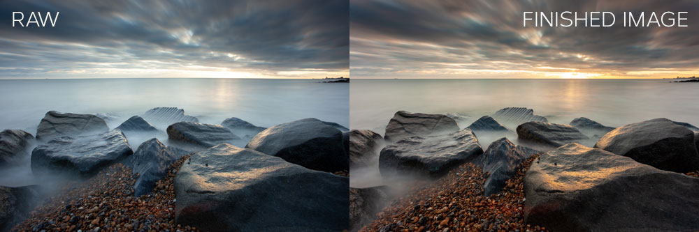 Seascape from idea to postproduction: before and after.